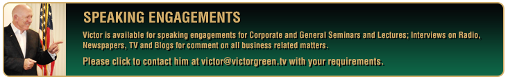 Victor is available for speaking engagements for Corporate and General Seminars and Lectures.